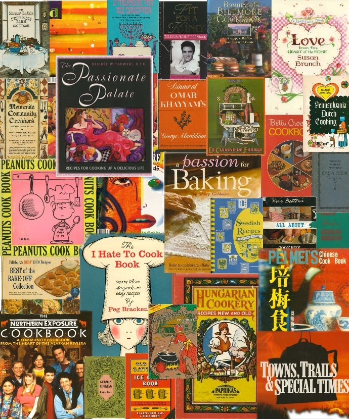 Cookbook Village vintage and collectible cookbooks collage @cookbookvillage.com